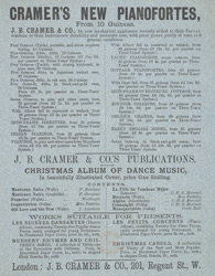 Advert For J. B. Cramer & Co, Pianofortes and Music Publisher